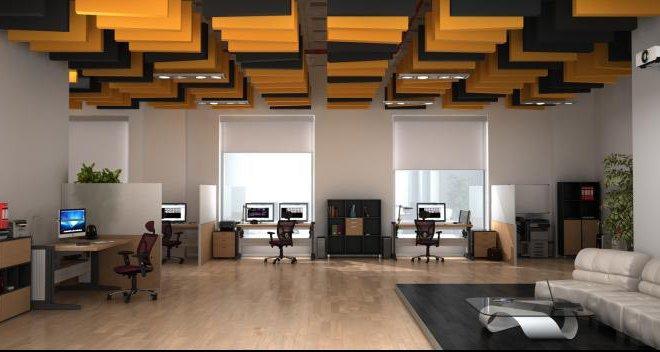 biuro- sufit podwieszany dziwiękochłonny
